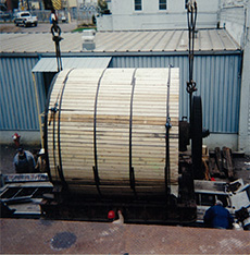 Loading of a Yankee Dryer - part of a tissue machine.